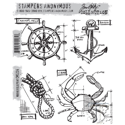 Tim Holtz Cling Rubber Stamps MARINER BLUEPRINT CMS234 Preview Image