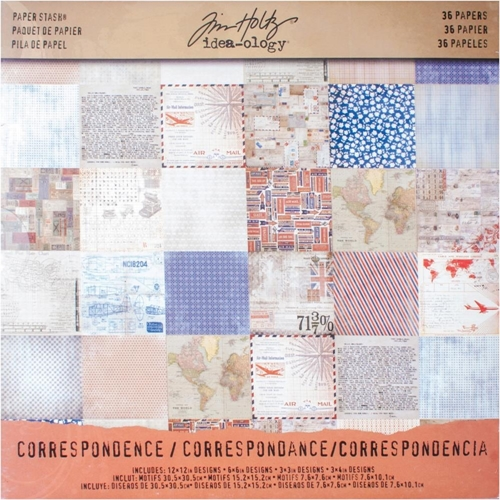 Tim Holtz Idea-ology 12 x 12 Paper Stash CORRESPONDENCE TH93187 Preview Image
