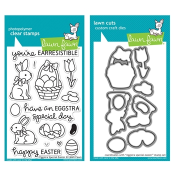Lawn Fawn SET LF215ESE CHOCOLATE BUNNIES Clear Stamps And Dies