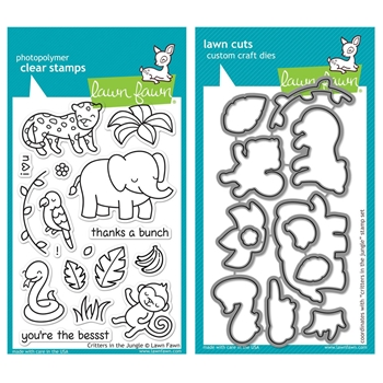 Lawn Fawn SET LF215CITJ MIGHTY JUNGLE Clear Stamps And Dies