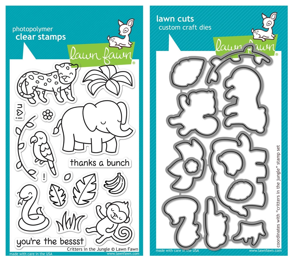 Lawn Fawn SET LF215CITJ MIGHTY JUNGLE Clear Stamps And Dies zoom image