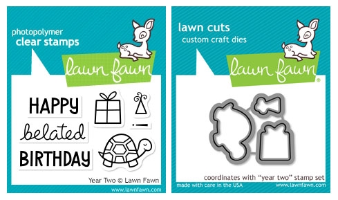 Lawn Fawn SET LF215YTW BELATED BIRTHDAY Clear Stamps And Dies zoom image