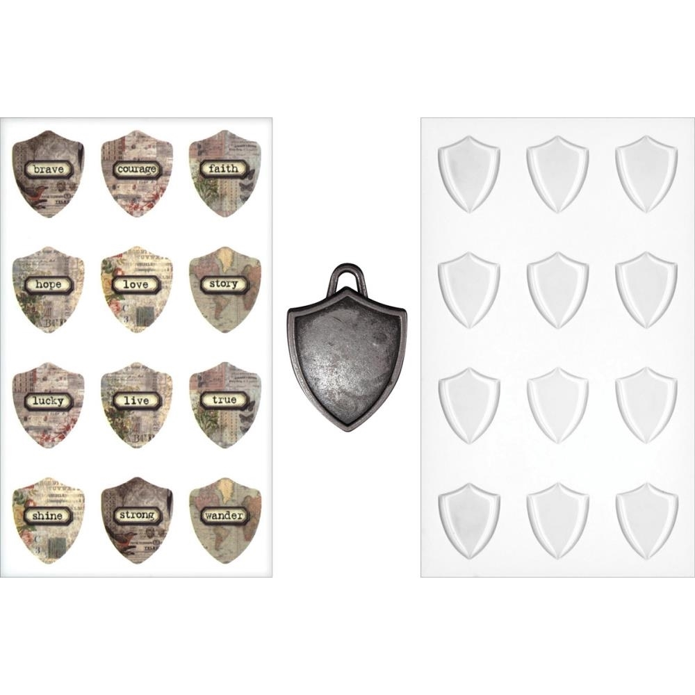 Tim Holtz Idea-ology SHIELD CHARMS TH93212 zoom image