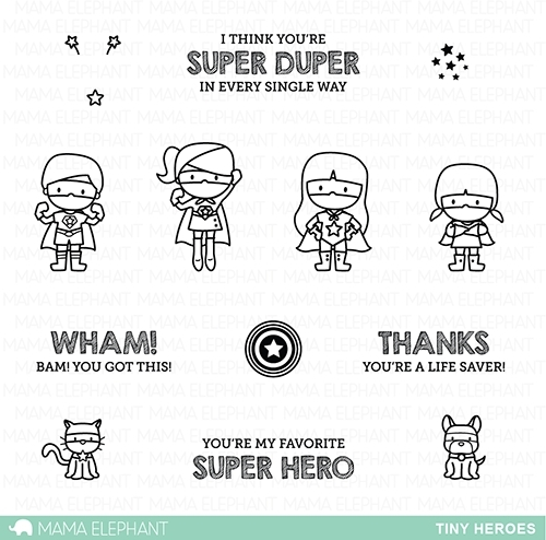 Mama Elephant Clear Stamp TINY HEROES Set  Preview Image