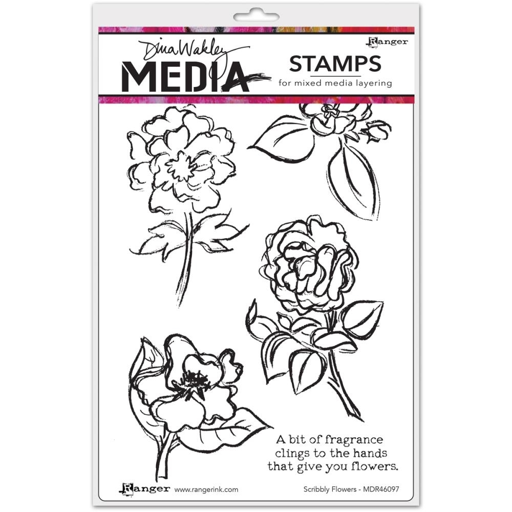 Dina Wakley SCRIBBLY FLOWERS Media Cling Rubber Stamp MDR46097* zoom image