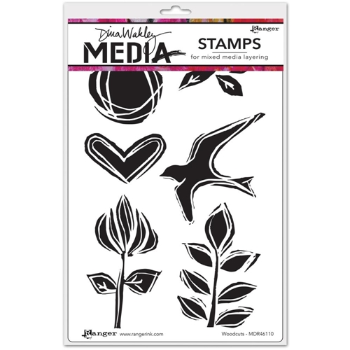 Dina Wakley WOODCUTS Media Cling Rubber Stamps MDR46110 Preview Image