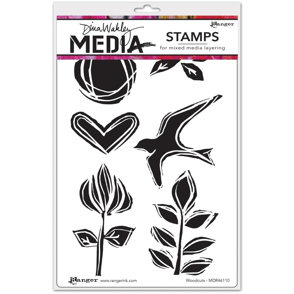 Dina Wakley WOODCUTS Media Cling Rubber Stamps MDR46110 zoom image