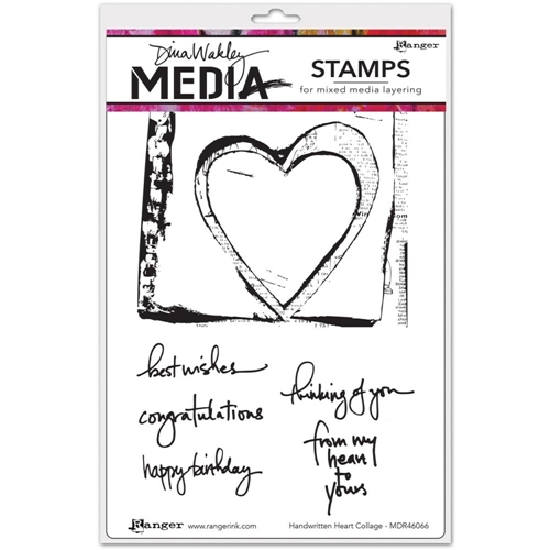 Dina Wakley HANDWRITTEN HEART COLLAGE Media Cling Rubber Stamp MDR46066 Preview Image