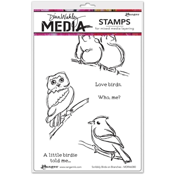 Dina Wakley SCRIBBLY BIRDS ON BRANCHES Media Cling Rubber Stamps MDR46080