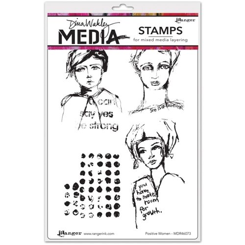 Dina Wakley POSITIVE WOMEN Media Cling Rubber Stamp MDR46073 Preview Image