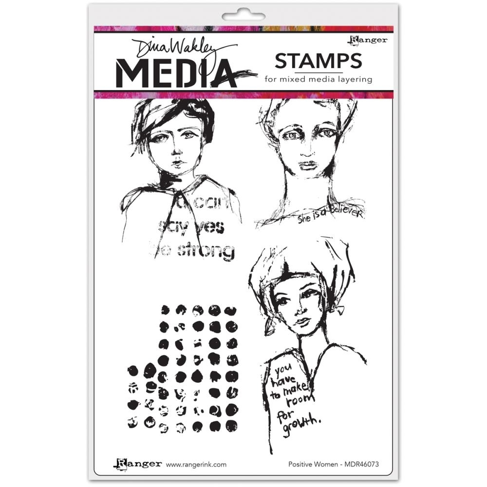 Dina Wakley POSITIVE WOMEN Media Cling Rubber Stamp MDR46073 zoom image