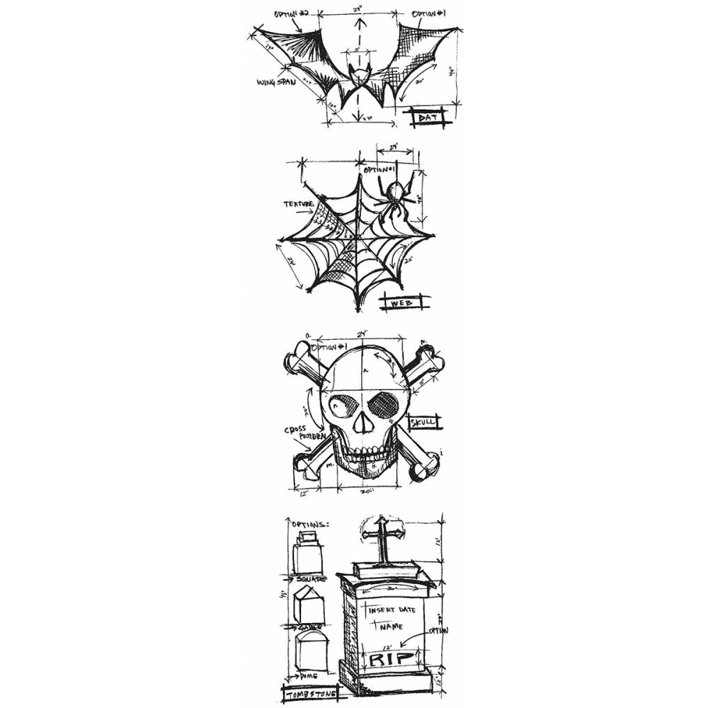 Tim Holtz Mini Blueprints Strip HALLOWEEN Cling Ruber Stamp THMB002 zoom image
