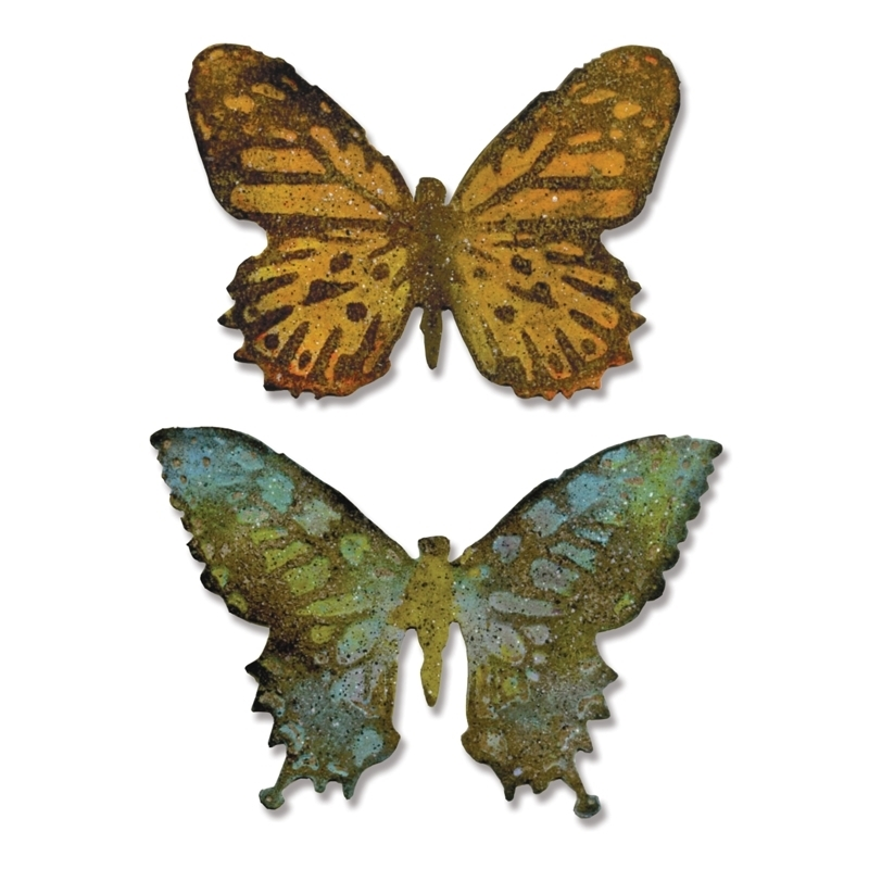 Tim Holtz Sizzix Die BUTTERFLY DUO Bigz And Texture Treads 660236 zoom image