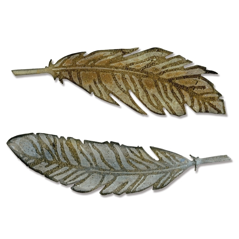 Tim Holtz Sizzix Die FEATHER DUO Bigz And Texture Treads 660237 zoom image