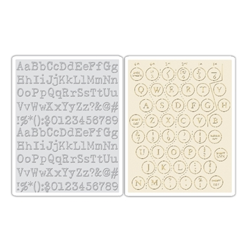 Tim Holtz Sizzix TYPEWRITER AND KEYBOARD Texture Fades Embossing Folders 660242