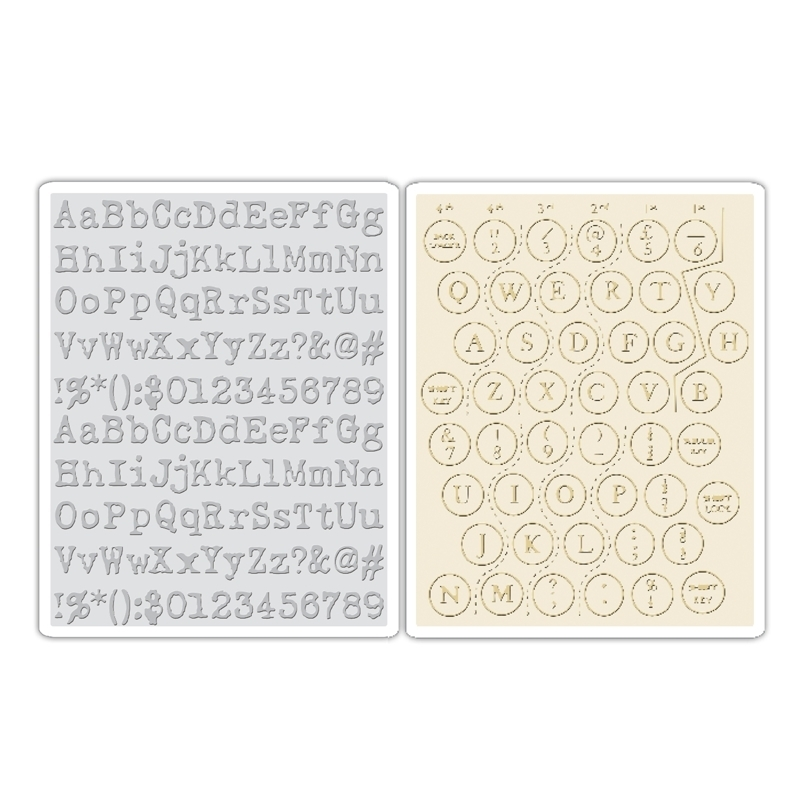 Tim Holtz Sizzix TYPEWRITER AND KEYBOARD Texture Fades Embossing Folders 660242 zoom image