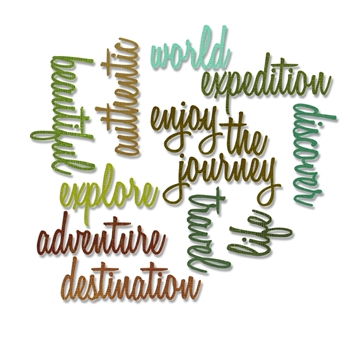 Tim Holtz Sizzix ADVENTURE WORDS SCRIPT Thinlits Die 660224