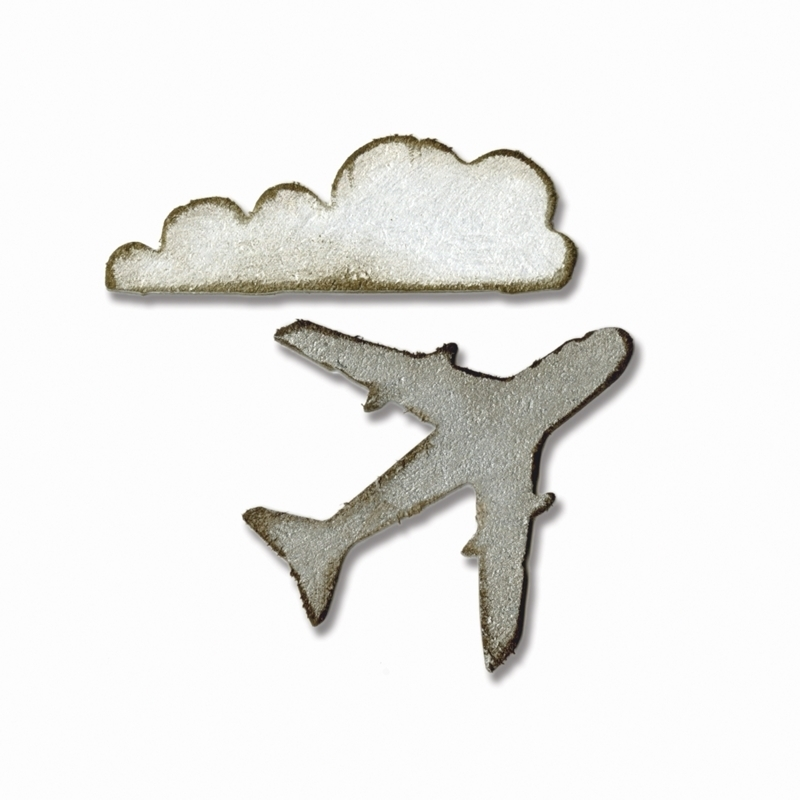 Tim Holtz Sizzix MINI AIRPLANE AND CLOUD Dies Movers And Shapers 660238 zoom image