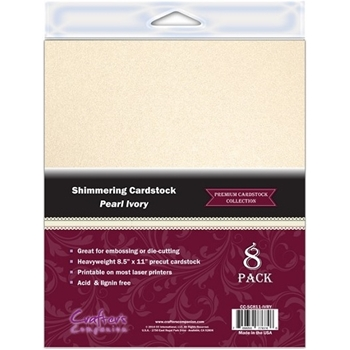Crafter's Companion IVORY PEARL 8.5 x 11 Shimmering Cardstock CC-SC811-IVRY