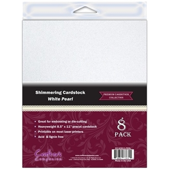 Crafter's Companion WHITE PEARL 8.5 x 11 Shimmering Cardstock CC-SC811-PERL