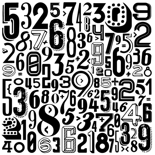 Tim Holtz Rubber Stamp RETRO NUMBERS Stampers Anonymous U2-2536 Preview Image