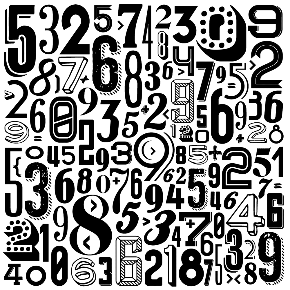 Tim Holtz Rubber Stamp RETRO NUMBERS Stampers Anonymous U2-2536 zoom image