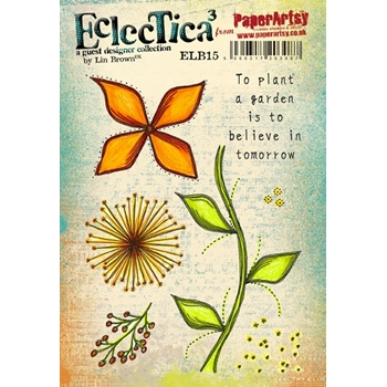 Paper Artsy ECLECTICA3 LIN BROWN 15 Rubber Cling Stamp ELB15