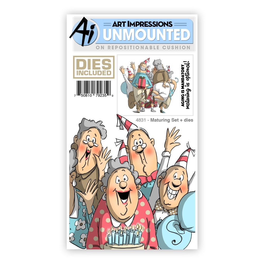Art Impressions MATURING SET Front And Backs Cling Rubber Stamps and Dies 4831 zoom image