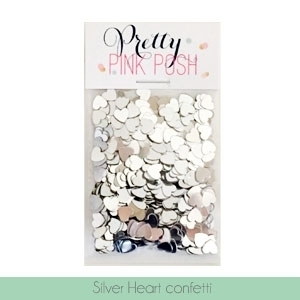 Pretty Pink Posh SILVER HEART CONFETTI Embellishments Preview Image