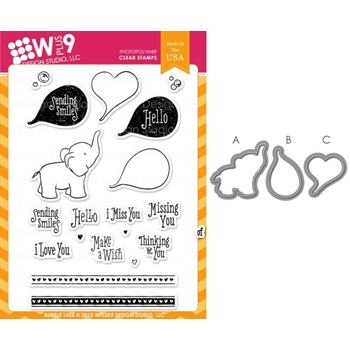 Wplus9 BUBBLE TALK SET Clear Stamp And Die Combo SETWP9BT