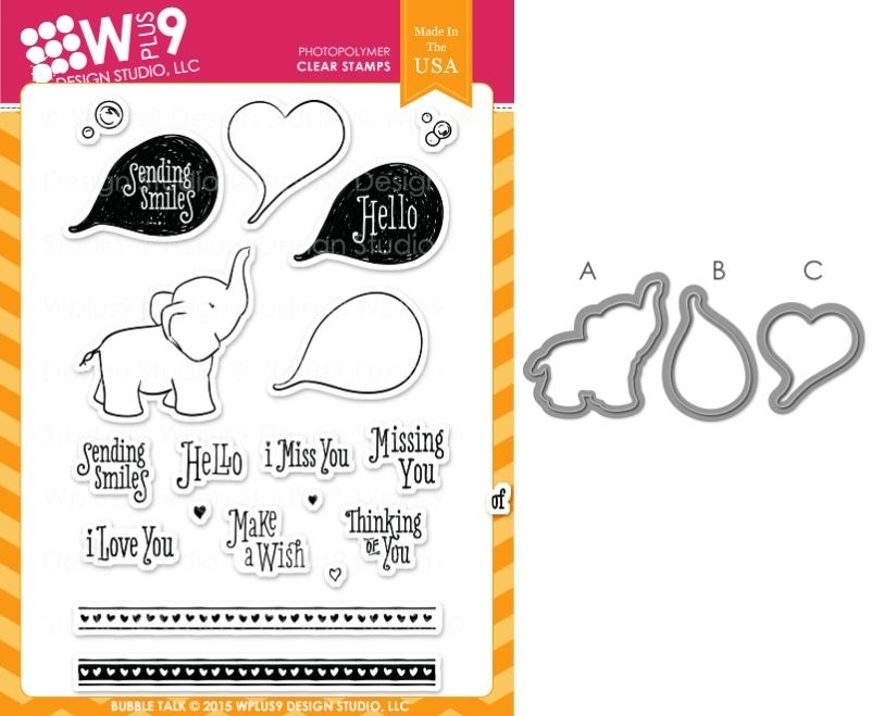 Wplus9 BUBBLE TALK SET Clear Stamp And Die Combo SETWP9BT zoom image