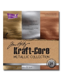 Tim Holtz Core'dinations KRAFT CORE METALLIC 12 x 12 Paper Stack GX196001