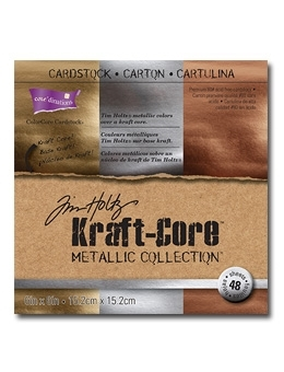 Tim Holtz Core'dinations KRAFT CORE METALLIC 6 x 6 Paper Stack GX196002