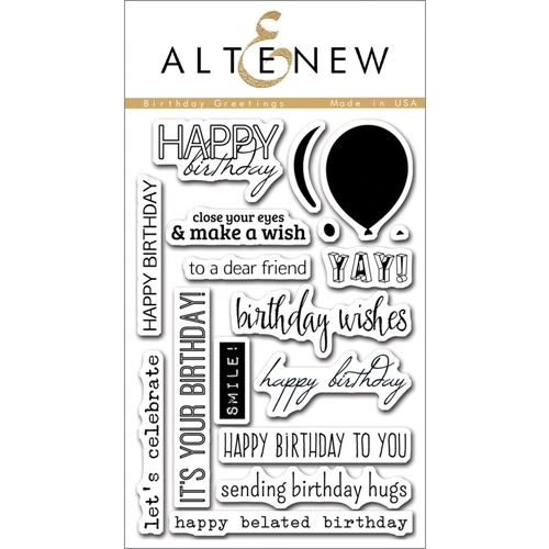 Altenew BIRTHDAY GREETINGS Clear Stamp Set ALT1063 Preview Image