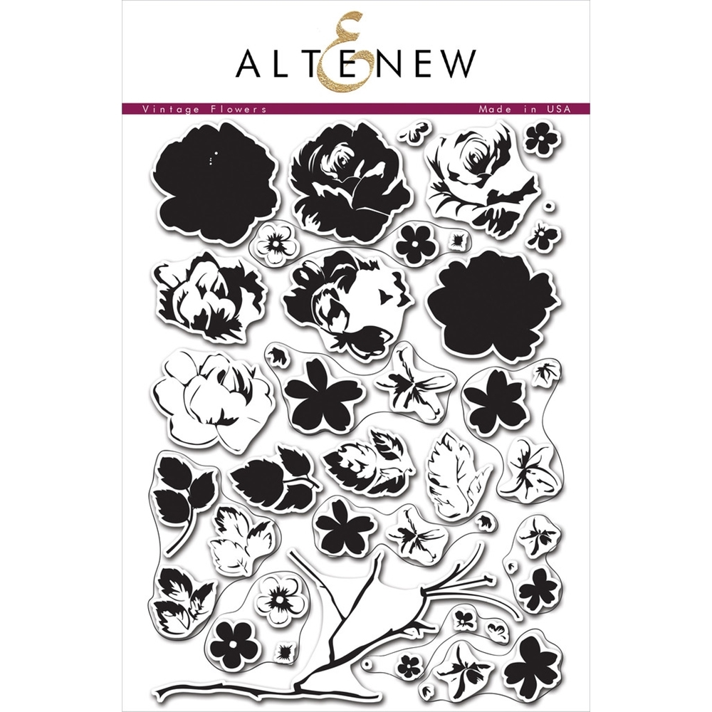 Altenew VINTAGE FLOWERS Clear Stamp Set zoom image