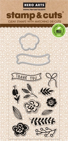 Hero Arts Stamp And Cuts FLOWERS Coordinating Stamp And Die Set DC130* Preview Image
