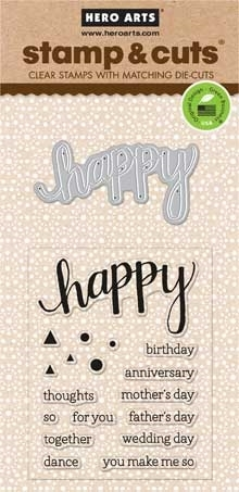 Hero Arts Stamp And Cuts HAPPY Coordinating Stamp And Die Set DC150 zoom image