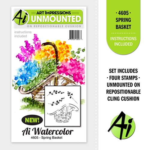 Art Impressions SPRING BASKET Cling Rubber Stamps Watercolor Mini Project Series 4605 Preview Image