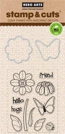 Hero Arts Stamp And Cuts BUTTERFLY AND FLOWER Coordinating Set DC147 zoom image