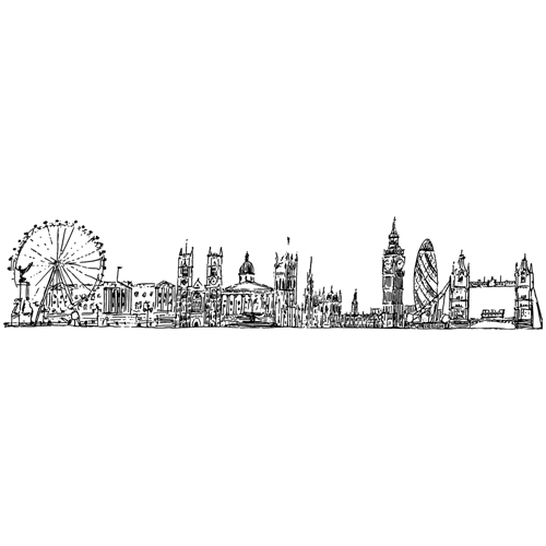 Tim Holtz Rubber Stamp LONDON CITYSCAPE Stampers Anonymous U4-2596 Preview Image