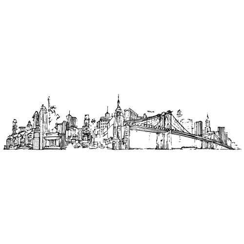 Tim Holtz Rubber Stamp NEW YORK CITYSCAPE Stampers Anonymous U4-2597 Preview Image