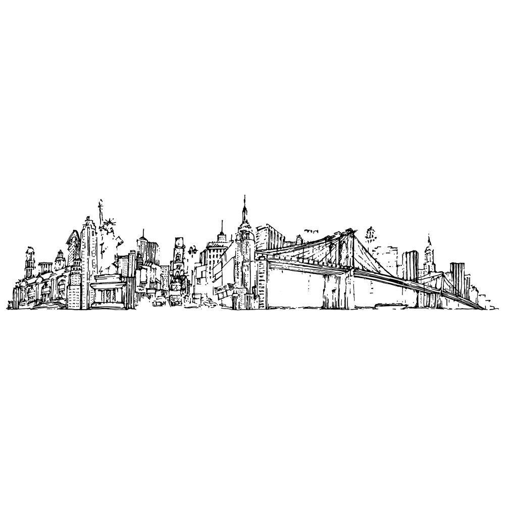 Tim Holtz Rubber Stamp NEW YORK CITYSCAPE Stampers Anonymous U4-2597 zoom image