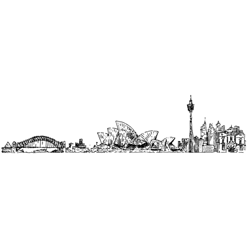 Tim Holtz Rubber Stamp SYDNEY CITYSCAPE Stampers Anonymous U4-2599 Preview Image