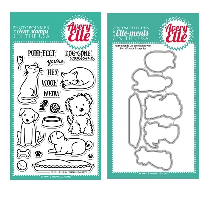 Avery Elle Clear Stamp and Die SET34FFAE Furry Friends Set  zoom image