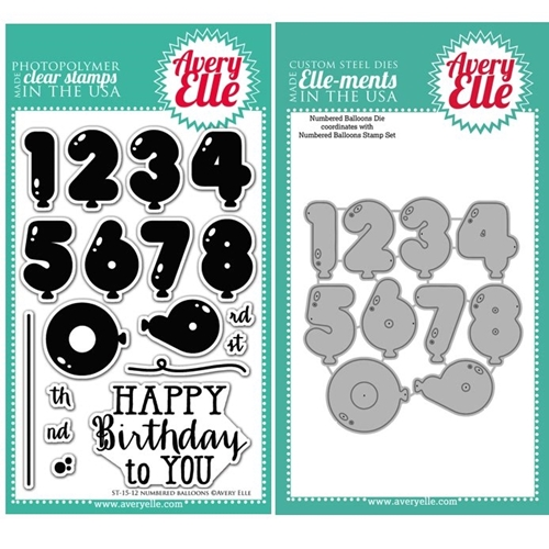 Avery Elle Clear Stamp and Die SET14NBAE Numbered Balloons Set Preview Image
