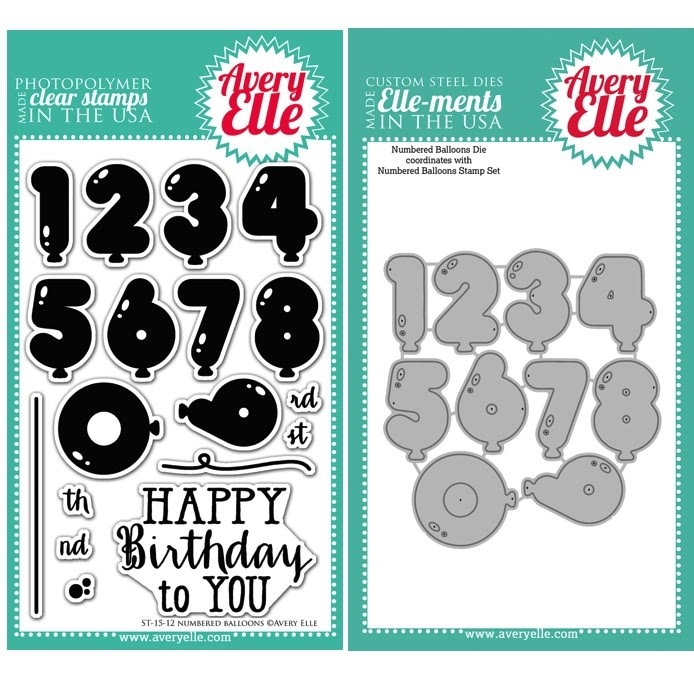 Avery Elle Clear Stamp and Die SET14NBAE Numbered Balloons Set zoom image