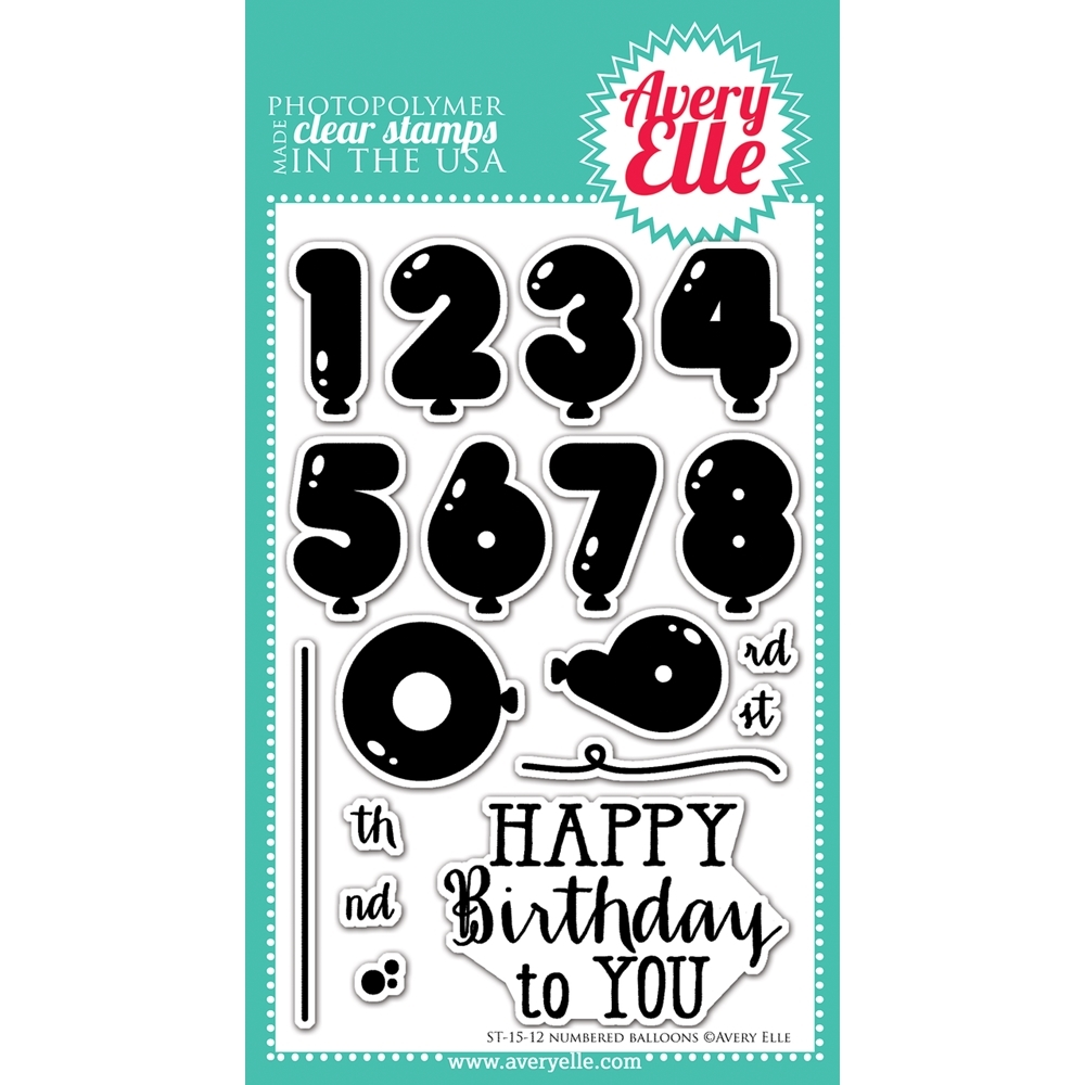 Avery Elle Clear Stamps NUMBERED BALLOONS Set ST-15-12 zoom image