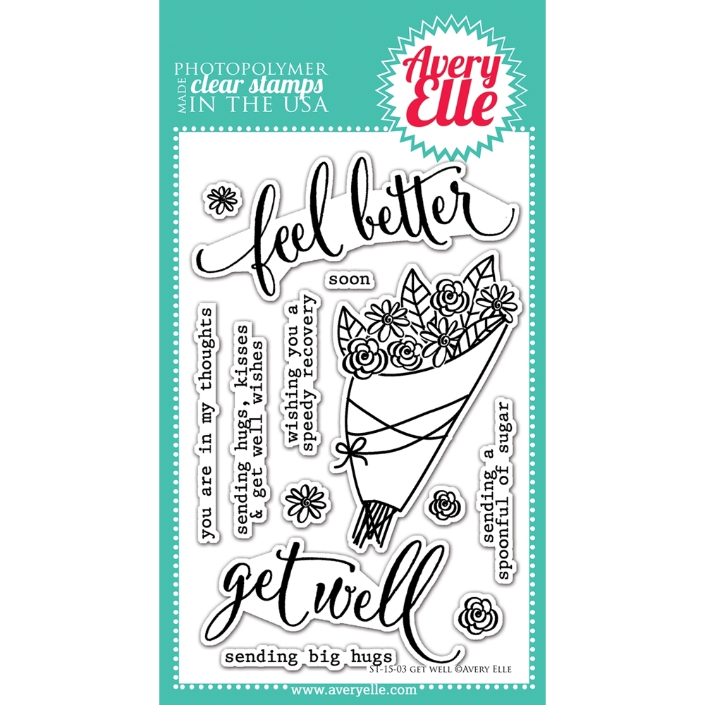 Avery Elle Clear Stamps GET WELL Set ST-15-03 zoom image