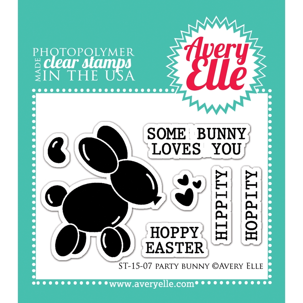 Avery Elle Clear Stamps PARTY BUNNY Set 022393 zoom image