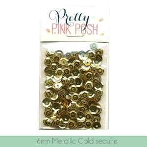 Pretty Pink Posh 6MM METALLIC GOLD CUPPED Sequins PPP027 zoom image